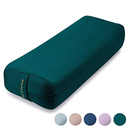AJNA Yoga Bolster Pillow for Meditation and Support - Rectangular Yoga Cushion - Yoga Accessories from Machine Washable with Carry Handle (Emerald)