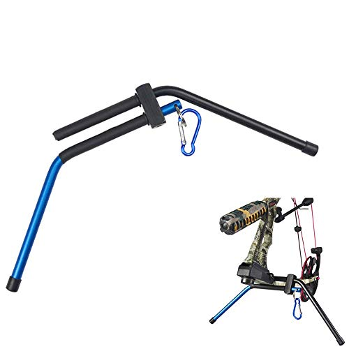 NMCPY Detachable Compound Bow Stand Holder Rack Support with Waist Belt Hanging Carabiner Archery Device (Blue)