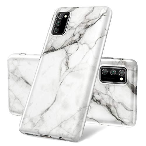 Vogu'SaNa Kompatible für Handyhülle Samsung Galaxy A41 Hülle Marmor Silikon Matt Marble Muster Case Cover Weiche Tasche Dünn Schutzhülle Handytasche Skin Softcase Schale Bumper TPU Etui-Weiß Grau