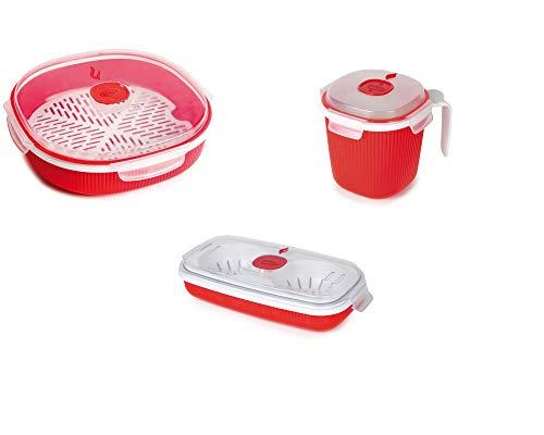 Snips Set 3 pz Contenitori per la Cottura al microonde Linea TempoZero: Mug, Cuoci Uova & Omelette, Vaporiera 2 lt, Multicolor, taglia unica