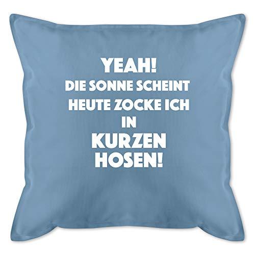 Kissen Hobby - Yeah die Sonne scheint. Gamer - Unisize - Hellblau - Kissen Nerd - GURLI Kissen mit Füllung - Kissen 50x50 cm und Dekokissen mit Füllung