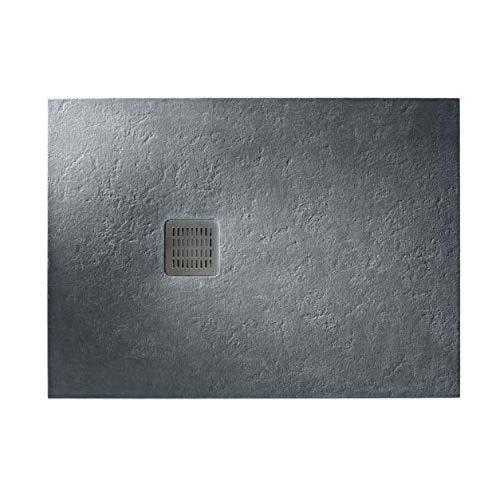 Plato de ducha antideslizante extraplano de Stonex de la serie Roca Terran Basic, 100 x 80 x 2 centímetros, color pizarra (Referencia: AP1013E83200120B)