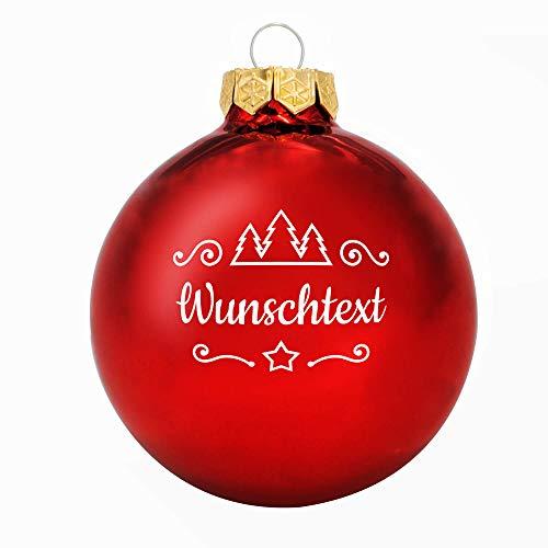 Deitert Weihnachtskugel mit Wunschtext Gravur, Ø 8cm, Personalisierte Christbaumkugel aus Glas (glänzend), Individueller Weihnachtsbaumschmuck Namen oder Spruch, Rot