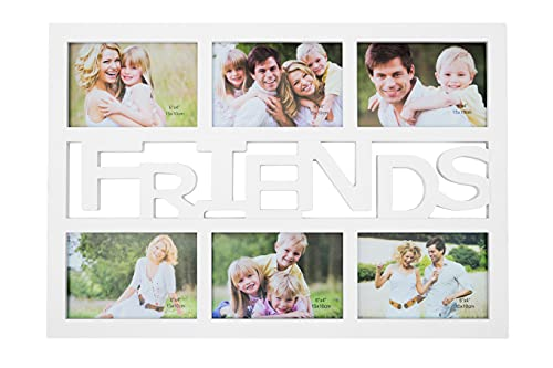 GWurm Cornice Portafoto da Parete Multiplo Friends Collage da 6 Fotografie 10x15 - Colore Bianco in Plastica