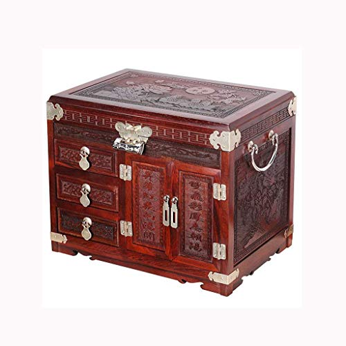 Daily Equipment Jewelry Box Storage Box Antique Jewelry Box Handmade Jewelry Red Rosewood Crafts Large Capacity Dressing Table Decoration Ladies Gifts New Wedding Products