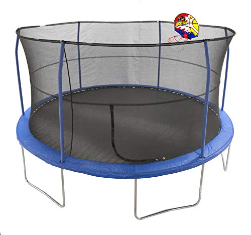 JumpKing 15' Bounce N' Dunk Trampoline & Enclosure Combo with Basketball Hoop Blue