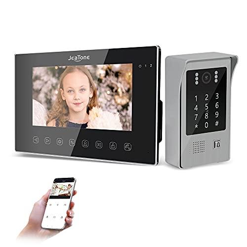 JeaTone Intercom - Timbre de puerta con vídeo y wifi con monitor de 960P de 7 pulgadas y cámara de 960P, teclado con tarjeta RFID y desbloqueo de contraseña