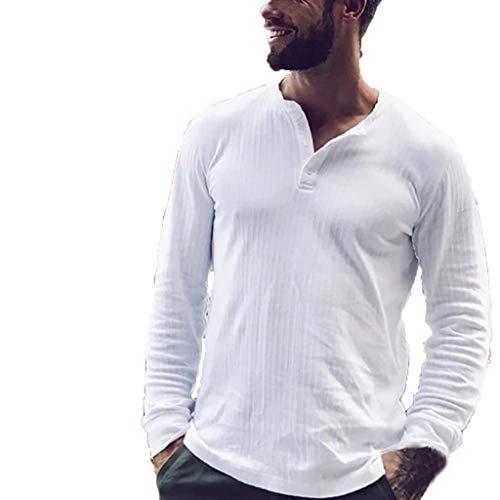 DNOQN Sportshirt Herren T Shirt Topshop Poloshirt Herren Mode Pur Langarm Top Mode Persönlichkeit Bluse Top M