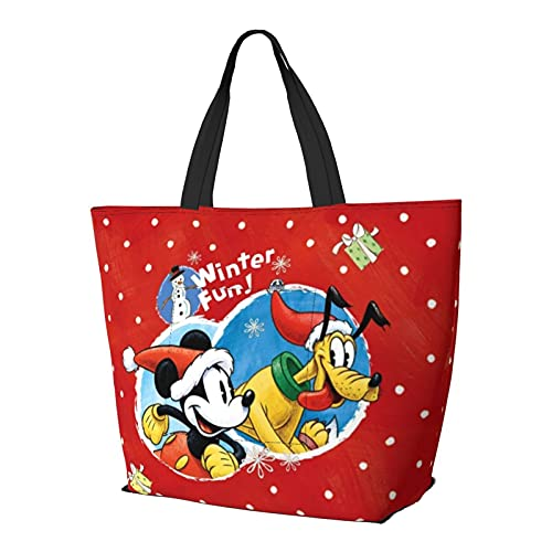 Bolsa de mano de Mickey Minnie Mouse con diseño de dibujos animados, estilo simplicidad, gran capacidad, bolsa de compras, gimnasio, playa, viajes, unisex, plegable