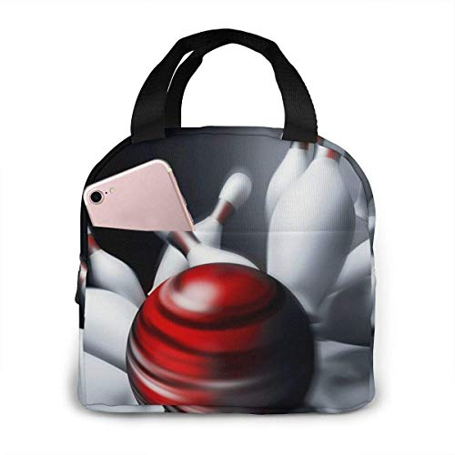 Bowling Lunch Bag Tote Bag Cricket Cooler Organizer Insulated Lunchbox Container For Kids Boys Girls School Office Travel Picnic