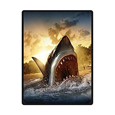 """HommomH 60"""" x 80"""" Soft Blanket Air Conditioning Great White Shark 1"""