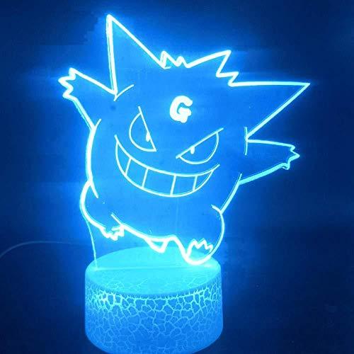 YOUPING Lámpara de ilusión 3D LED luz nocturna efecto visual Pokemon Gengar Anime & Manga Atmósfera batería para decoración de interiores, el mejor cumpleaños regalos de Navidad para niños