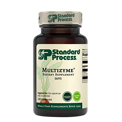 Standard Process Multizyme - Whole Food Pancreas Support  Pancreatin Digestive Enzymes  Digestive Health and Pancreatic Enzymes with Cellulase  Papain  Amylase  Lipase and More - 150 Capsules