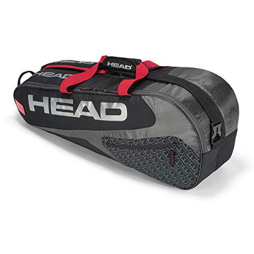 HEAD Elite 3R Pro Tennis Racquet Bag - 3 Racket Tennis Equipment Duffle Bag, 29.5 x 13 x 4 in, Black/Red