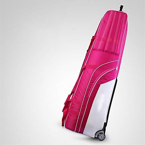 ZoSiP Golf Travel Bag Aviation Caddybags Hard-Bottom Golf Club Reisetasche Koffer mit Rollen Heavy Duty 1200D Nylon Verschleißschutz-Wasserdicht (Color : Rose red, Size : 131x36x42cm)