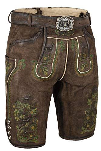 Almsach Herren Herren Lederhose mit Gürtel kurz Braun mit grüner Stickerei, 215GF-MULTIGRÜN (braun), 58