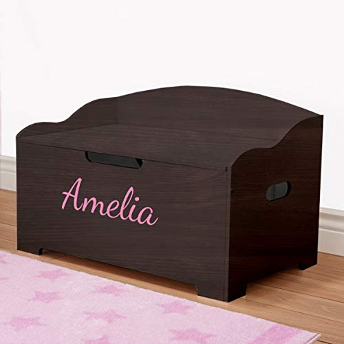 DIBSIES Personalized Modern Expressions Toy Box - Espresso (Signature Series - Girls) (Signature Series - Girls)
