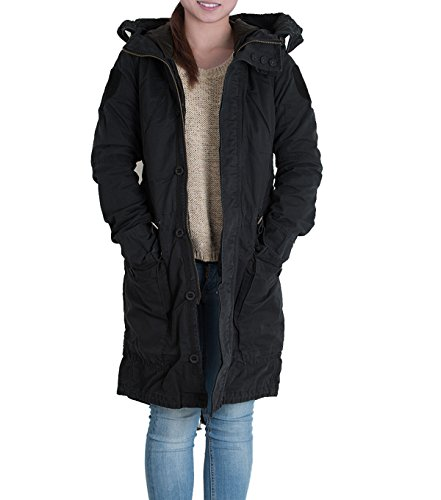 JETLAG Kimberly Damen Wintermantel Innenjacke Vegan Mantel Parka Kapuze (S-2XL) (M, Night Black)