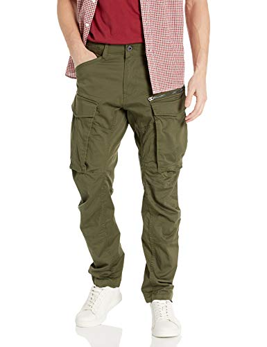 G-STAR RAW Rovic Zip 3D Straight Tapered Pantaloni, Verde (Dk Bronze Green 5126-6059), 32W / 32L Uomo