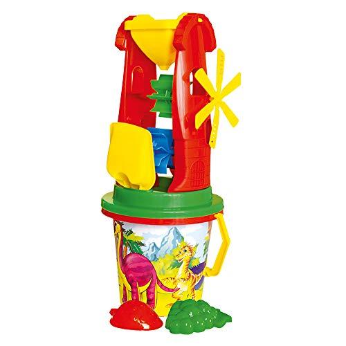 Bino Sand-Spielzeug-Set, Sandsachen, (Sandkastenspielzeug 12-teilig, für Kinder ab 12 Monaten, aus hochwertigem Polypropylen, ideal für den Sandkasten oder Strand, Maße ca. 42x17x17 cm), Mehrfarbig