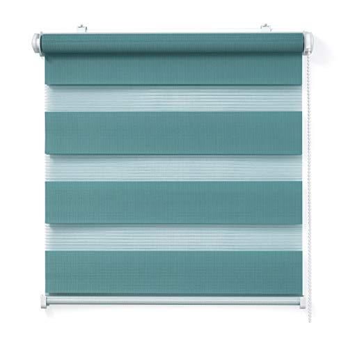 Doppelrollo, Türkis, 105x150cm - Duo-Rollo Klemm Fix mit Klemmträger, Fenster-Rollo/Seitenzug-Rollo Ohne Bohren, lichtdurchlässig und verdunkelnd
