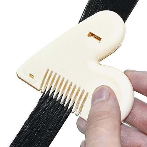 ZUQIN Hair Thinning Comb,Split End Trimmer With Stainless Steel Razor Combs Hair Cutting Removable Tinkle Thinning tool For Women (Red)