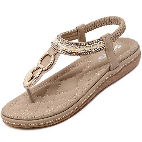 Flache Bohemian Sandalen Damen Sommer mit Weiche Fußbett Elegant Flip Flops Frauen Outdoor Freizeit Zehentrenner Strandschuhe Beige 41 EU = Herstellergröße 42