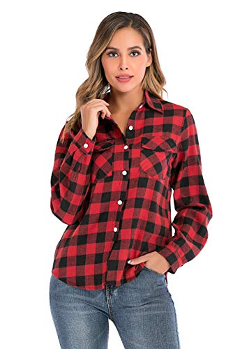 Enjoyoself Damen Karrierte Bluse Langarm Karo Flanell Hemden Baumwolle Button-down Hemdbluse für Alltag und Oktoberfest,Rot-Schwarz,L