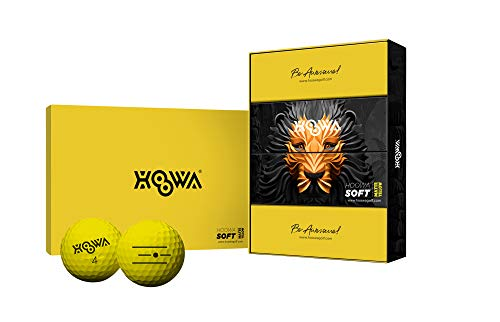 HOOWA Colored Distance Golf Balls - 3 Piece Construction, High Ball Speed, Spin Control, High Performance (Matte Yellow)