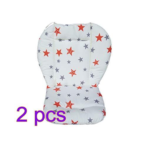 2×Cojín Reductor Universal de Algodón para Silla de Coche de Paseo del Carro Cubierta del Asiento del Niño (Estrella Gris de Cinco Puntas)