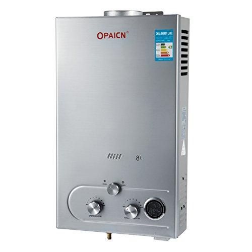 OldFe Scaldabagno A Gas Liquefatto Scaldabagno A Gas 8L LPG Con Digitale LCD 16KW Scaldabagno Automatico E Rapidamente