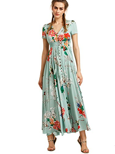 Milumia Women's Button Up Split Floral Print Flowy Party Maxi Dress Small Light Green