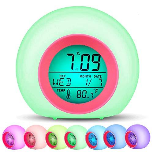 Swonuk Digitaler Wecker für Kinder Wake Up-Wecker 7 Farben LED Lichtwecker Nachttischuhr Uhr Reisewecker Kinderwecker mit Datum, Schlummerfunktion und Temperatur