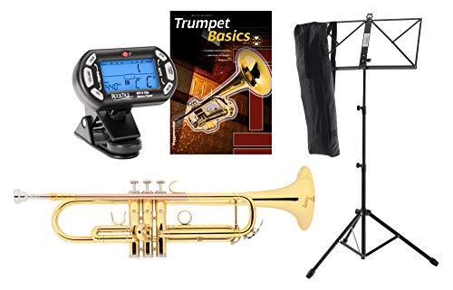 Classic Cantabile TR-30L Bb-Trompete Set (Schallbecher Messing 123 mm, Mundrohr Goldmessing, Monel-Ventile, Bohrung 11,65 mm, Notenständer, Stimmgerät/Metronom/, Schule) Gold