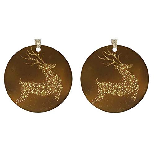 """4 bthfiron Round Glossy Ceramic Christmas Ornament(Set of 2 - Shining Star Christmas Reindeer Xmas Deer Snowflake Customized Ornament for Christmas Tree,Gold String and Gift Box Included,2.875"""""""