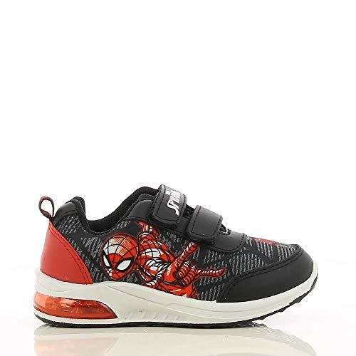 Spiderman Chaussures de sport pour enfants avec imprimé Spiderman - Semelles lumineuses LED et Velcro - Chaussures de sport pour garçons et filles - Noir - Noir , 27 EU