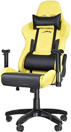 Speedlink Verstellbarer Stuhl mit Armlehnen - Regger Gaming Chair Chefsessel für Gamer (Bürostuhl höhenverstellbar - Rückenlehne einstellbar Neigungswinkel (90-165°)gelb