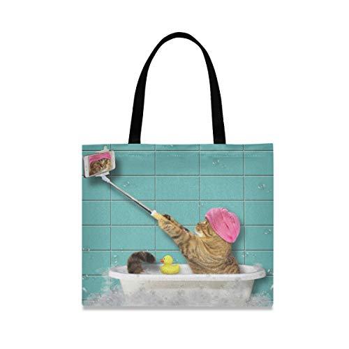 XiangHeFu Mode große Kapazität Badewanne Selfie Cat wiederverwendbare Einkaufstasche Handtasche Casual Girls