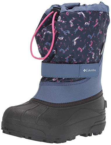 Columbia Unisex-Kid's Youth Powderbug Plus II Print Snow Boot, Bluebell/Pink ice, 2 Regular US Little Kid
