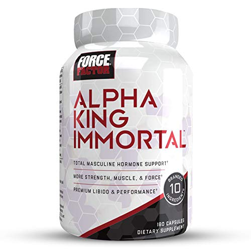 Force Factor Alpha King Immortal Total Masculine Hormone Support, Boost Testosterone & Reduce Estrogen, Improve Strength, Muscle, Force, Enhance Performance, 180 Count