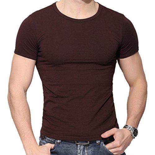 QIYUN.Z Los Hombres Casuales Color Solido De Manga Corta Ronda Cuello Bodycon Delgada Camisa De La Blusa Camiseta