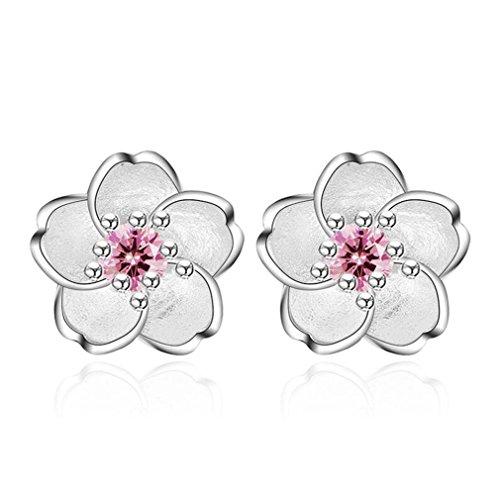 Wiftly Women's Simple Earrings, Alloy Women Five Petals Flower Design Earring Coated Rhinestone Crystal Stud (Pink)