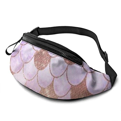 Corner Time Small Artificial Flowers Unisex Casual Waist Bag Glam Girly Rose Gold Glitter Mermaid Scales Fanny Pack Money Bum Bag with Adjustable Belt for Running Sports Climbing Travel