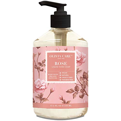 Liquid Hand Soap By Olivia Care. Rose & Essential Oils. All Natural - Cleansing, Germ-Fighting, Moisturizing Hand Wash for Kitchen & Bathroom - Gentle, Mild & Natural Scented - 18.5 OZ