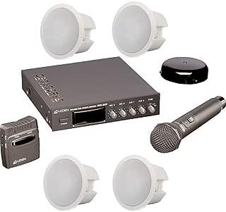Azden IR-CS Infrared Wireless Classroom System w Receiver, 2 Mics, 4 Ceiling Speakers, Sensor