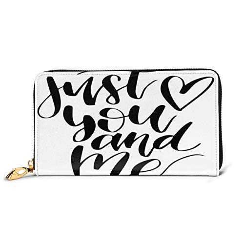 Women's Long Leather Card Holder Purse Zipper Buckle Elegant Clutch Wallet, Just You and Me Calligraphy with Heart Figure Modern Design Valentines Day,Sleek and Slim Travel Purse