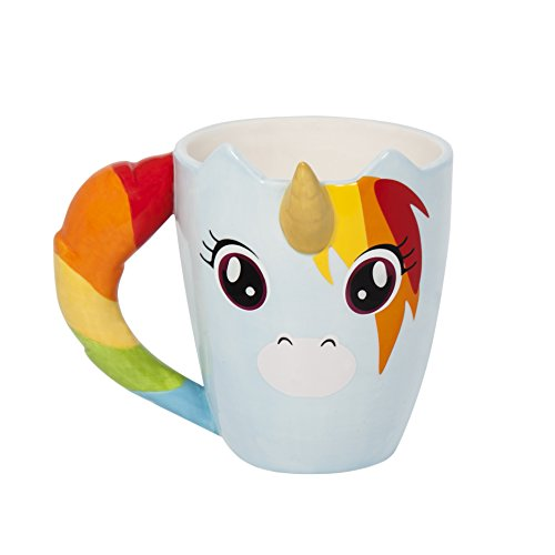 Thumbs Up! Taza Unicornio, cerámica, Multicolor, 11x12.5x11 cm