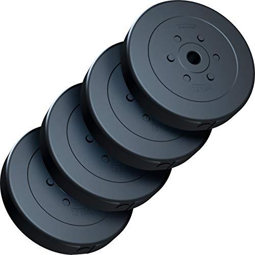 ScSPORTS® 40 kg Hantelscheiben-Set, Kunststoff, 4 x 10 kg Gewichte, 30/31 mm Bohrung, durch Intertek geprüft + bestanden (1)