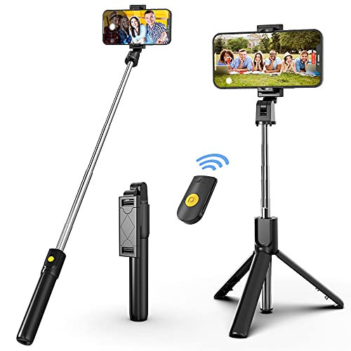 Selfie Stick Tripod with Bluetooth Wireless Remote, 3 in 1 Extendable Selfie Stick Phone Holder for iPhone 12/12 Pro/12 Pro Max/11/11...