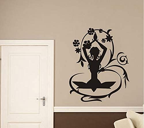 Papel Pintado De Yoga De Hadas De Flores Pegatinas De Pared De Moda Para Sala De Estar Decoración Del Hogar Calcomanías De Vinilo Dormitorio Niñas Póster Murales 57X69Cm
